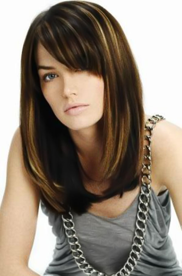 chin length a line bob with side swept bangs layers and